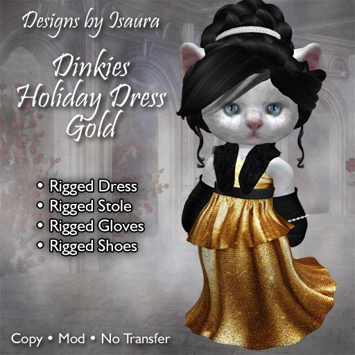 Dinkies Holiday Dress Gold